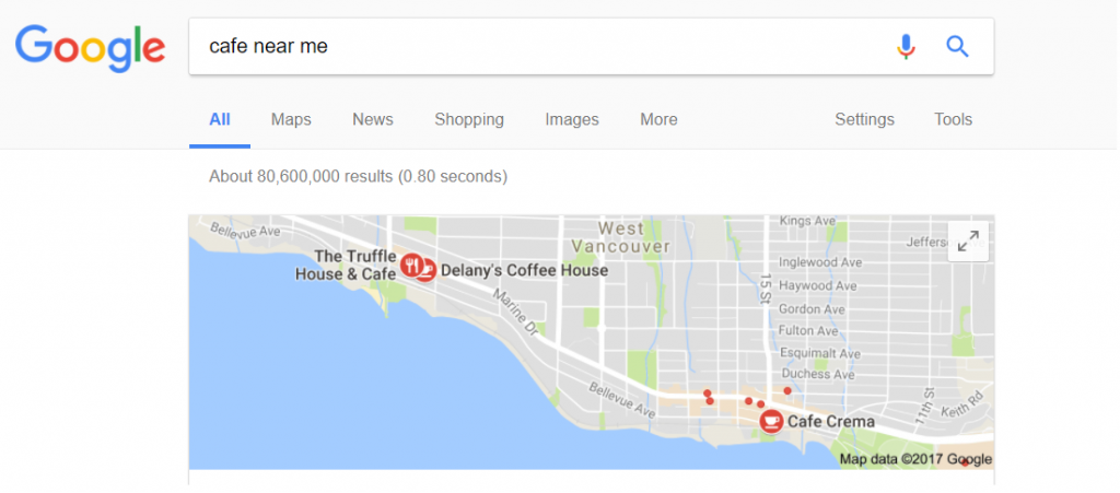 Semantic Search Example - Cafes Near Me