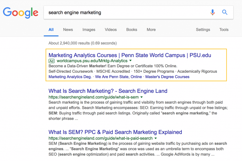 A screenshot of the search results for search engine marketing, with the paid search results highlighted by an orange box