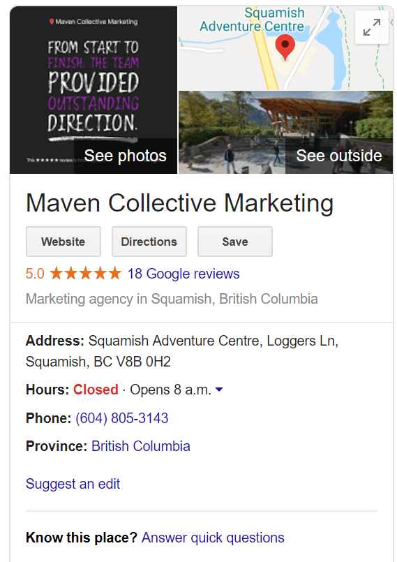 Maven collective showing best practices for Google My Business for B2B companies.