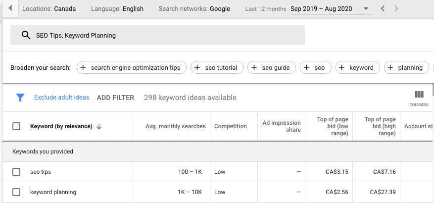 seo tips from google keyword planner
