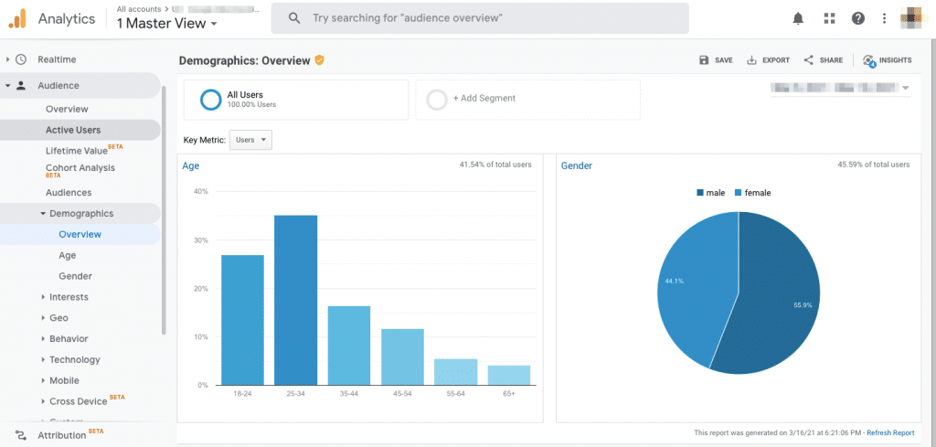 b2b marketing strategy for persona building with google analytics